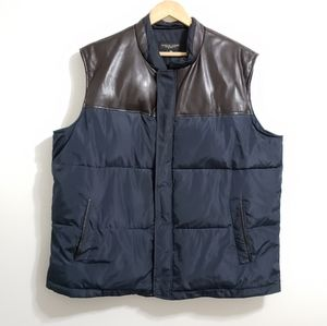 Pronto Uomo Vegan Leather Quilted Puff Zip Up Vest